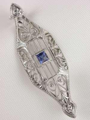 Krementz Sapphire Filigree Antique Pin