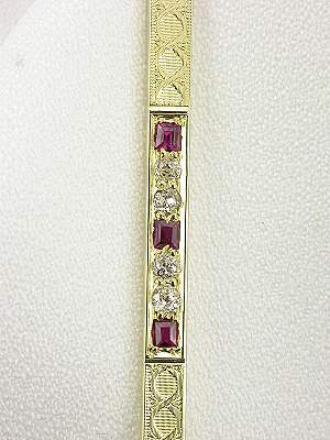 Victorian Ruby and Diamond Antique Brooch