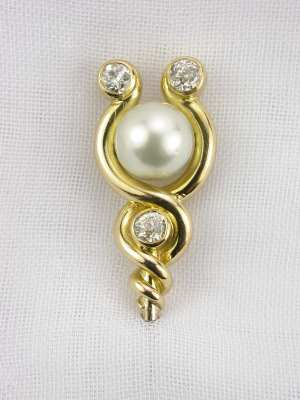 Victorian Pearl and Diamond Stick Pin
