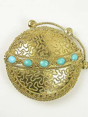 Etruscan Revival Turquoise Antique Brooch