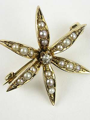 Victorian Starburst Antique Pin with Pearls