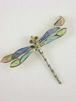 Art Nouveau Style Dragonfly with Plique a Jour