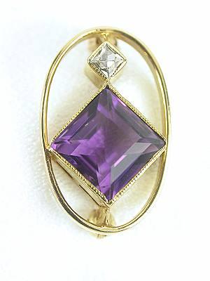 Amethyst and Diamond Pin