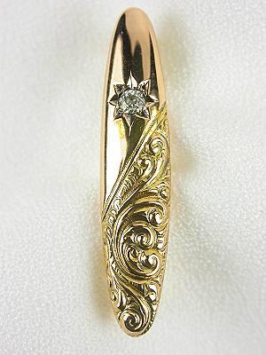 Victorian Diamond Pin with Scroll Motif