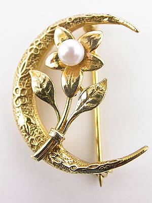 Antique Pin with Floral and Crescent Motif