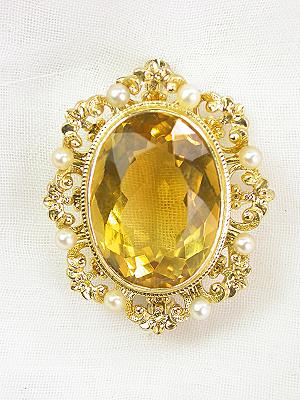 Citrine Estate Brooch