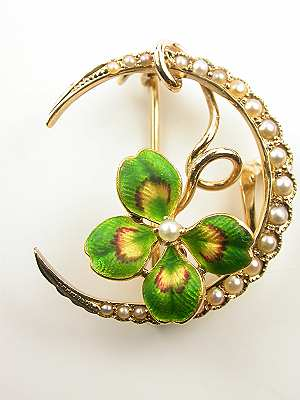 Victorian Clover Leaf Antique Brooch
