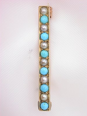 Turquoise and Pearl Antique Victorian Pin