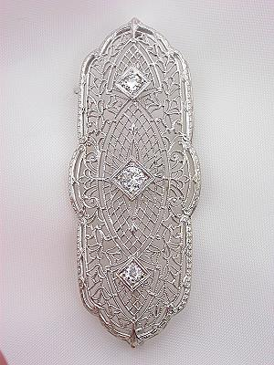 Antique Filigree Brooch with Old European Cut Diamonds