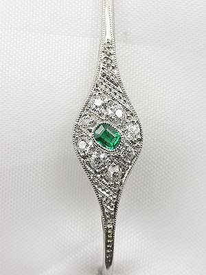 Art Deco Antique Emerald and Diamond Brooch