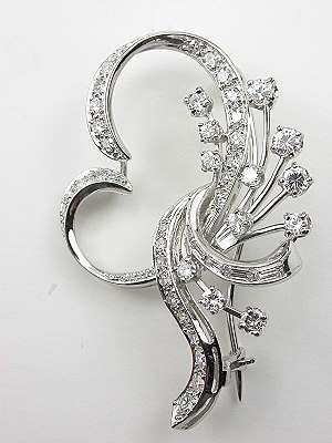Vintage Diamond Brooch with Scroll and Spray Design