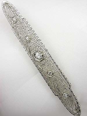 Pierced Filigree and Diamond Antique Brooch