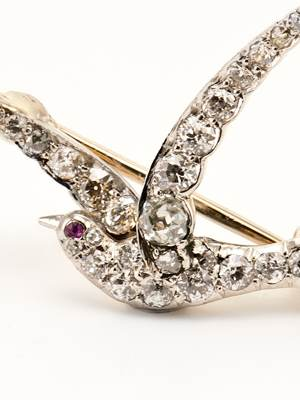 Victorian Antique Swallow Brooch