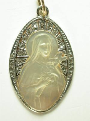 Virgin Mary Mother of Pearl and Diamond Pendant