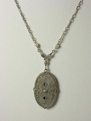Antique  Edwardian Filigree Pendant Necklace