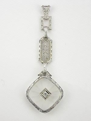 Edwardian Crystal and Diamond Antique Pendant