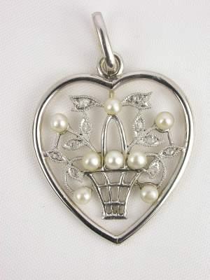 Edwardian Antique Pearl and Diamond Pendant