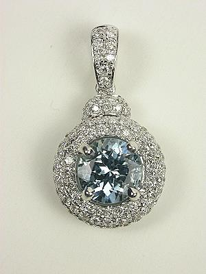 Aquamarine and Pave Diamond Pendant