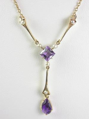 1950s Amethyst and Pearl Pendant