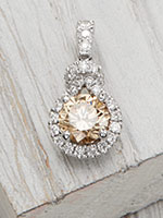 Vintage Inspired Champagne Diamond Pendant