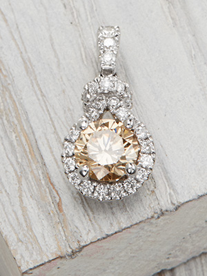 Vintage Inspired Champagne Diamond Pendant