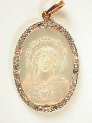 Antique Edwardian Virgin Mary Pendant