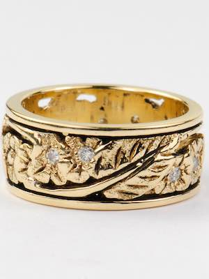 Floral & Diamond Vintage Wedding Ring