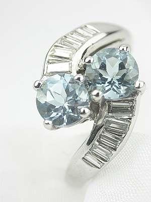 Antique ByPass Aquamarine Engagement Ring