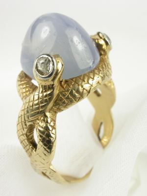 Antique Victorian Snake Ring with Star Sapphire