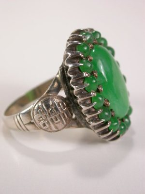 Chinese Antique Jade Ring in Sterling Silver