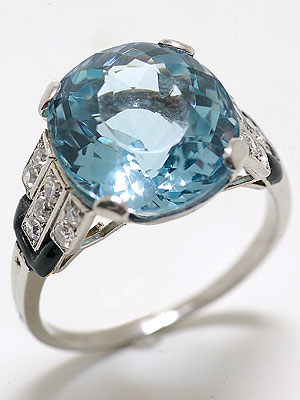 Art Deco Aquamarine  Ring :  gemstone jewelry jewellery aquamarine