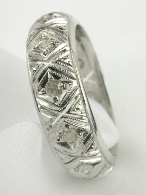 Antique Art Deco Filigree and Diamond Wedding Ring