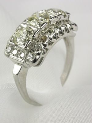 Antique Diamond Cross-Finger Wedding Ring