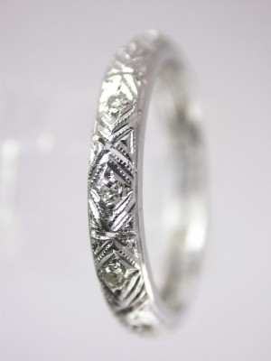 Antique Art Deco Filigree and Diamond Wedding Ring