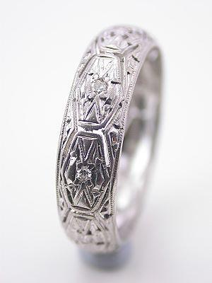 Pierced and Engraved Platinum Wedding Band