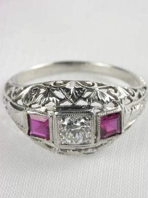 Antique Art Deco Ruby Engagement Ring
