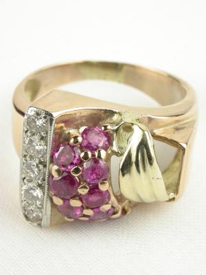 Retro Ruby Rose Gold Antique Ring