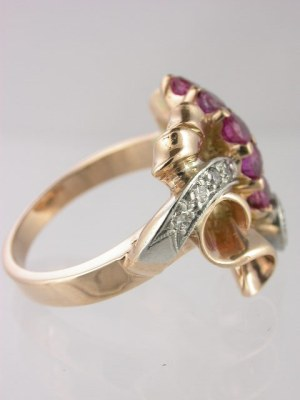Retro Ruby and Diamond Antique Ring