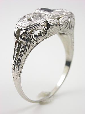 Filigree Sapphire and Diamond Antique Engagement Ring