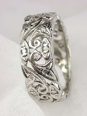Eternity Band with Leaf and Scroll Design
