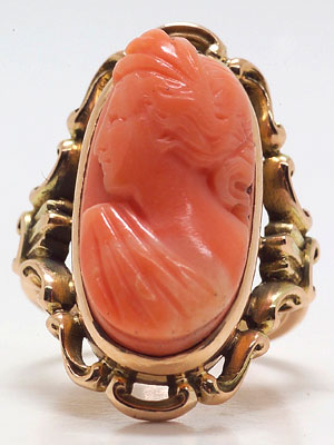 Victorian Coral Antique Ring