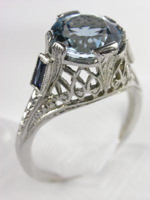 Edwardian Antique Aquamarine Engagement Ring