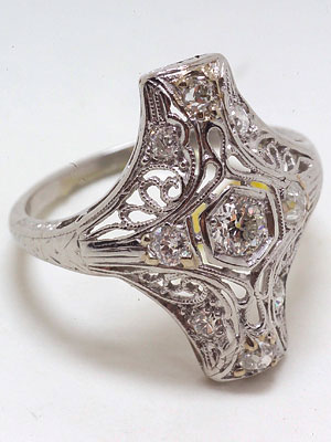 Art Deco Platinum  Filigree Ring
