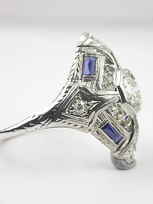 Art Deco Filigree Antique Cocktail Ring