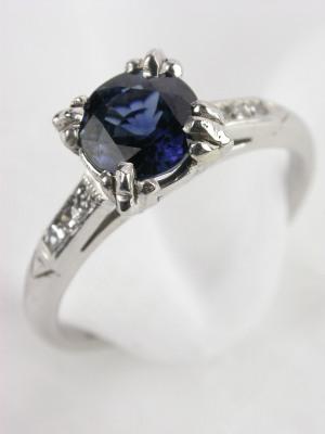 Classic 1947 Antique Sapphire Engagement Ring