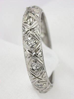 Antique Art Deco Filigree Wedding Ring