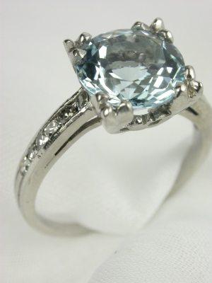 1945 Aquamarine Antique Engagement Ring