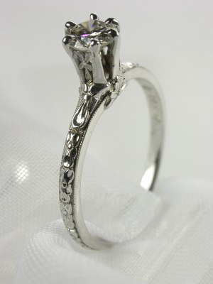 Orange Blossom Antique Engagement Ring, RG-1537
