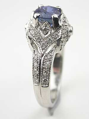 Antique Style Platinum Sapphire Engagement Ring