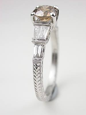 Dramatic Champagne Diamond Engagement Ring